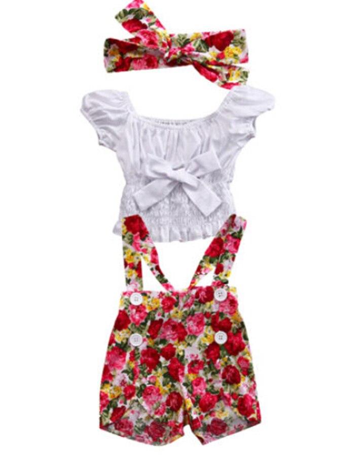 3pcs Set Kids Baby Girl Off Shoulder T shirt Tops+Floral Shorts Bib Pants Overall Outfit Set Handband Summer Kids Clothes