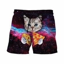 Taco Katze Shorts Herren Hipster Raum Galaxy 3D Kurze Hosen hübscher Streetwear Board Shorts Männlich Niedlich Katze Essen Tacos Strand Shorts