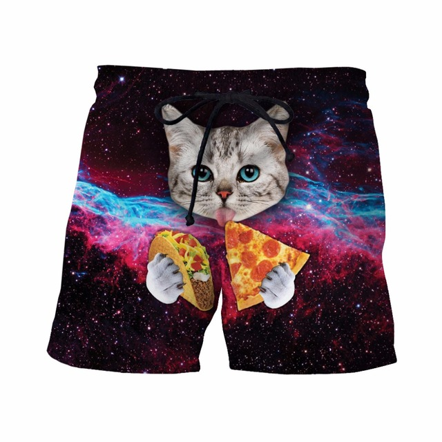 Taco Cat Shorts Mens Hipster Space Galaxy 3D Short Pants Handsome Streetwear Board Shorts Male Cute Cat Eat Tacos Beach Shorts