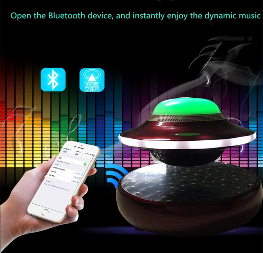 UFO Maglev Bluetooth Speakers Wireless Stereo Rotating 360 Degree Colorful Luminous Speakers Magnetic levitation Sound new arrival wblue wb 46 maglev colorful speaker intelligent wireless bluetooth mini portable best creative gift stereo