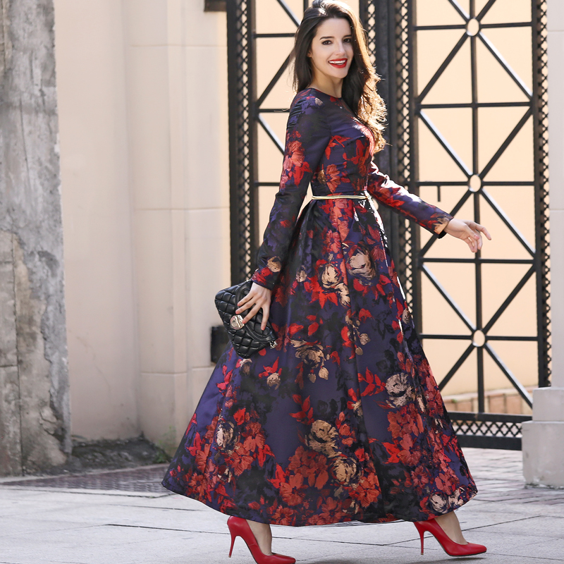 Plus Size S 3XL New Designer Maxi Dress Party Women Long Sleeve full length Gorgeous Floral Jacquard Long Autumn Winter Dress