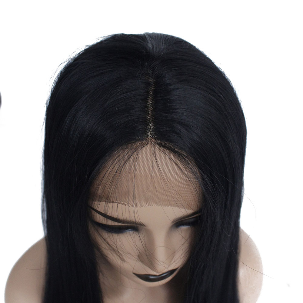 Long straight bob synthetic lace front wig-11