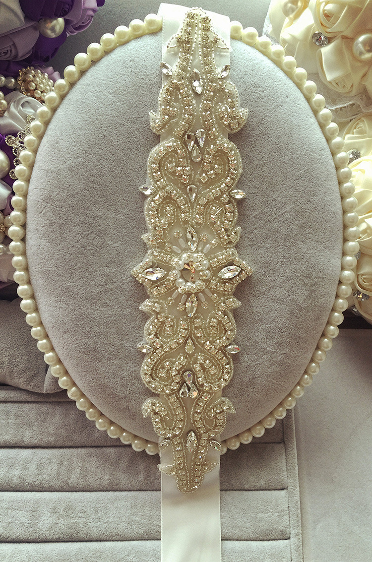 wedding belts Wholesale Bridal Sashes Belts Buy Glamourous Crystal Beadings Ribbon Royal Blue Wedding Dress Sash