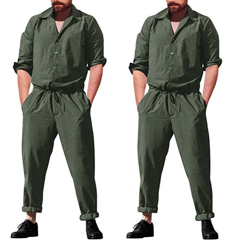 Men's Slim Long One Piece Romper Long Sleeve Street Casual Cargo Pants Jumpsuit Siamese Trousers Solid