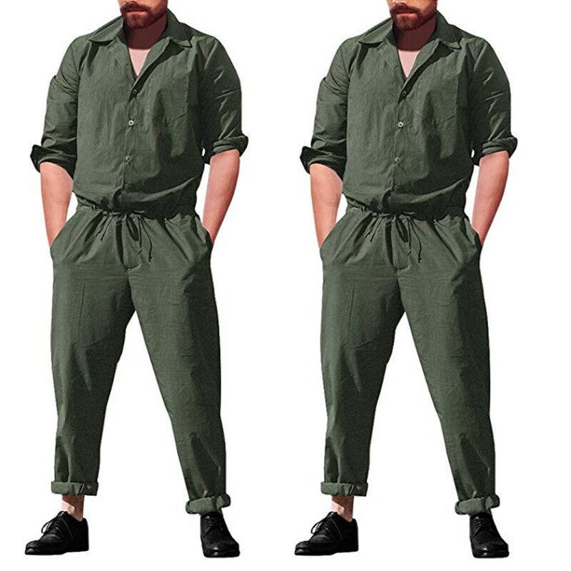 Men's Slim Long One Piece Romper Long Sleeve Street Casual Cargo Pants Jumpsuit Siamese Trousers Solid