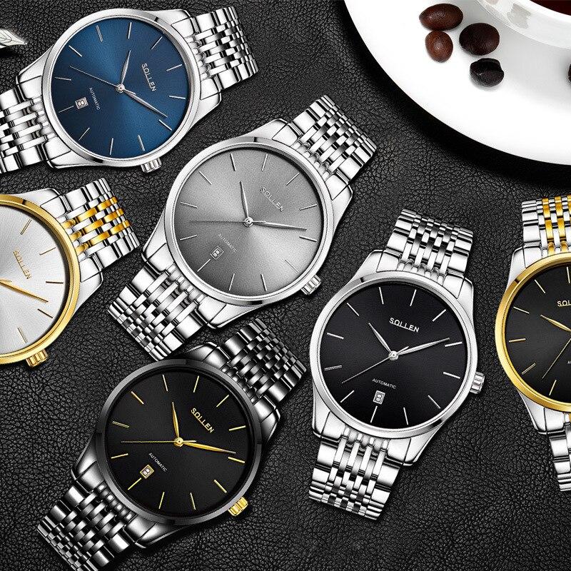 Marque de luxe SOLLEN noir entièrement en acier inoxydable automatique montre mécanique hommes Auto Date Designer hommes montres horloge mâle Relogio - 6