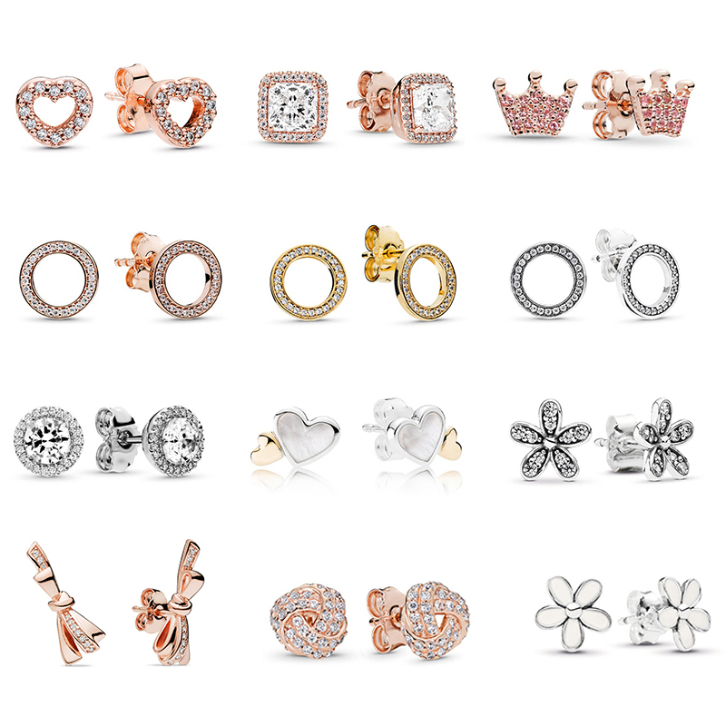 Stud-Earring Jewelry Clear Infinity Special-Offer Silver Wedding-Brand Women For 29-Styles