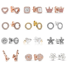 Special Offer 29 Styles Silver Infinity Stud Earring Clear CZ Fit Fine Earrings for Women Wedding Brand Jewelry Dropshipping