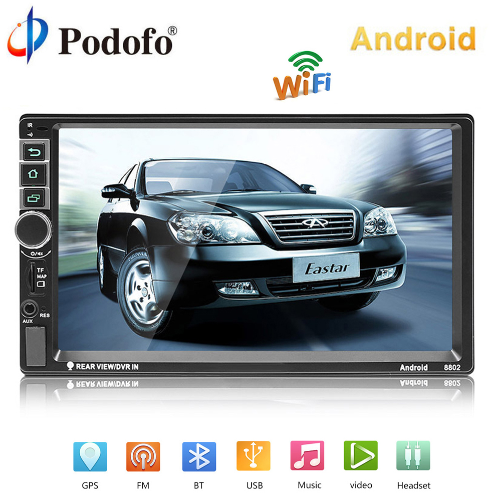 "Podofo 2 din Android Car Radio GPS Navigation Car Audio 2DIN 7"" Bluetooth Car Multimedia Player USB MP5 Autoradio Backup Camera"