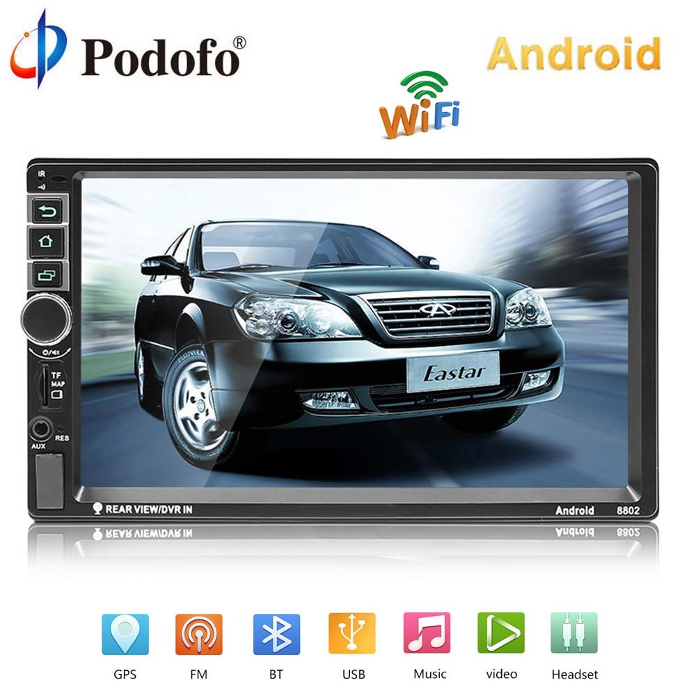 Podofo 2 din Autoradio Android GPS Navigation Voiture Audio 2DIN 7 Bluetooth Voiture Lecteur Multimédia USB MP5 Autoradio caméra de recul