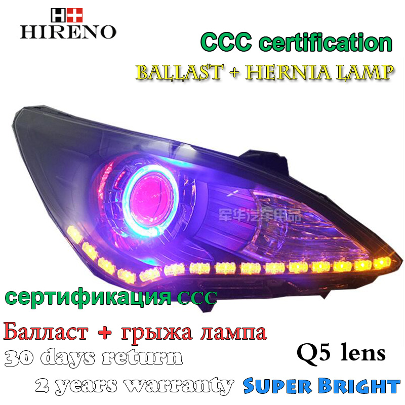 Hireno Modified Headlamp for Hyundai Solaris Verna 2009-2013 Headlight Assembly Car styling Angel Lens Beam HID Xenon 2 pcs hireno headlamp for cadillac xt5 2016 2018 headlight headlight assembly led drl angel lens double beam hid xenon 2pcs