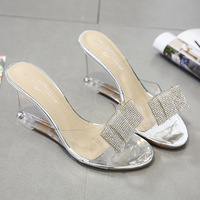 PVC Jelly Sandals Crystal Peep Toe Sandals Fashion Transparent Summer Women Shoes High Heels Clear Wedge Sandals Bow Slippers