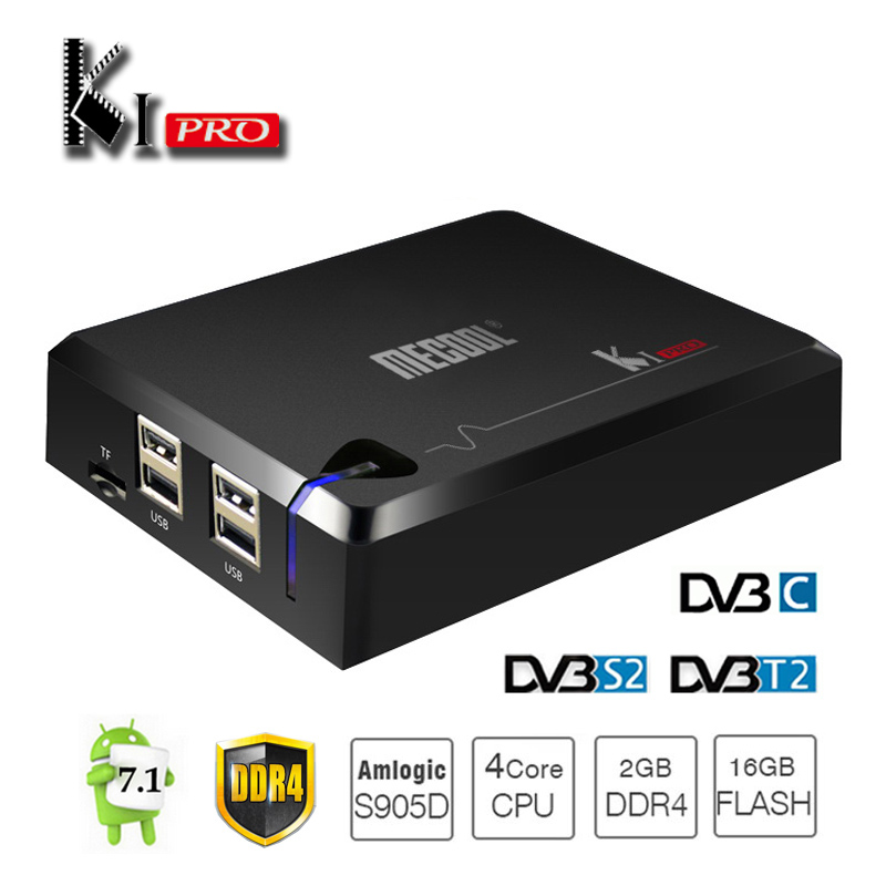 Original MECOOL KI Pro Android TV Box Supports DVB S2 T2 DVB-C Amlogic S905D 4K 3D Media Player DDR4 2GB RAM 16GB AC Wifi BT Box mecool kiii pro dvb t2 s2 tv box rii i8 black