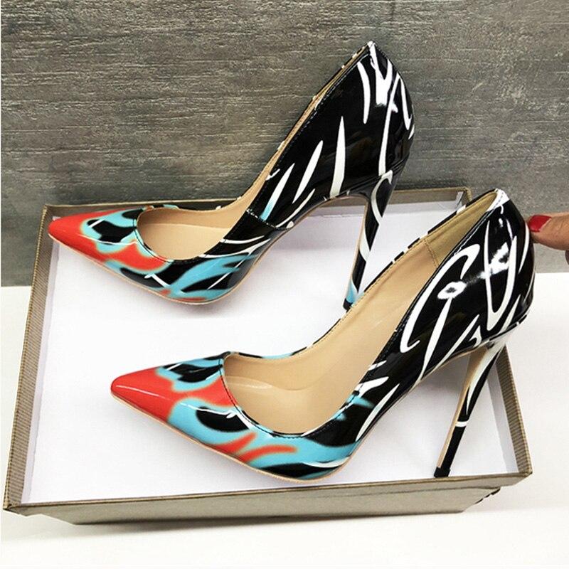 a5f87cfb Cm Sexy Qp052 Roviciya Alto Boda Bombas De Tacón 10cm Estampado 8cm 12cm  Heel Las Marca Valentín Diseñador Punta Heel Zapatos 12 Mujeres San Heel  Tacones ...