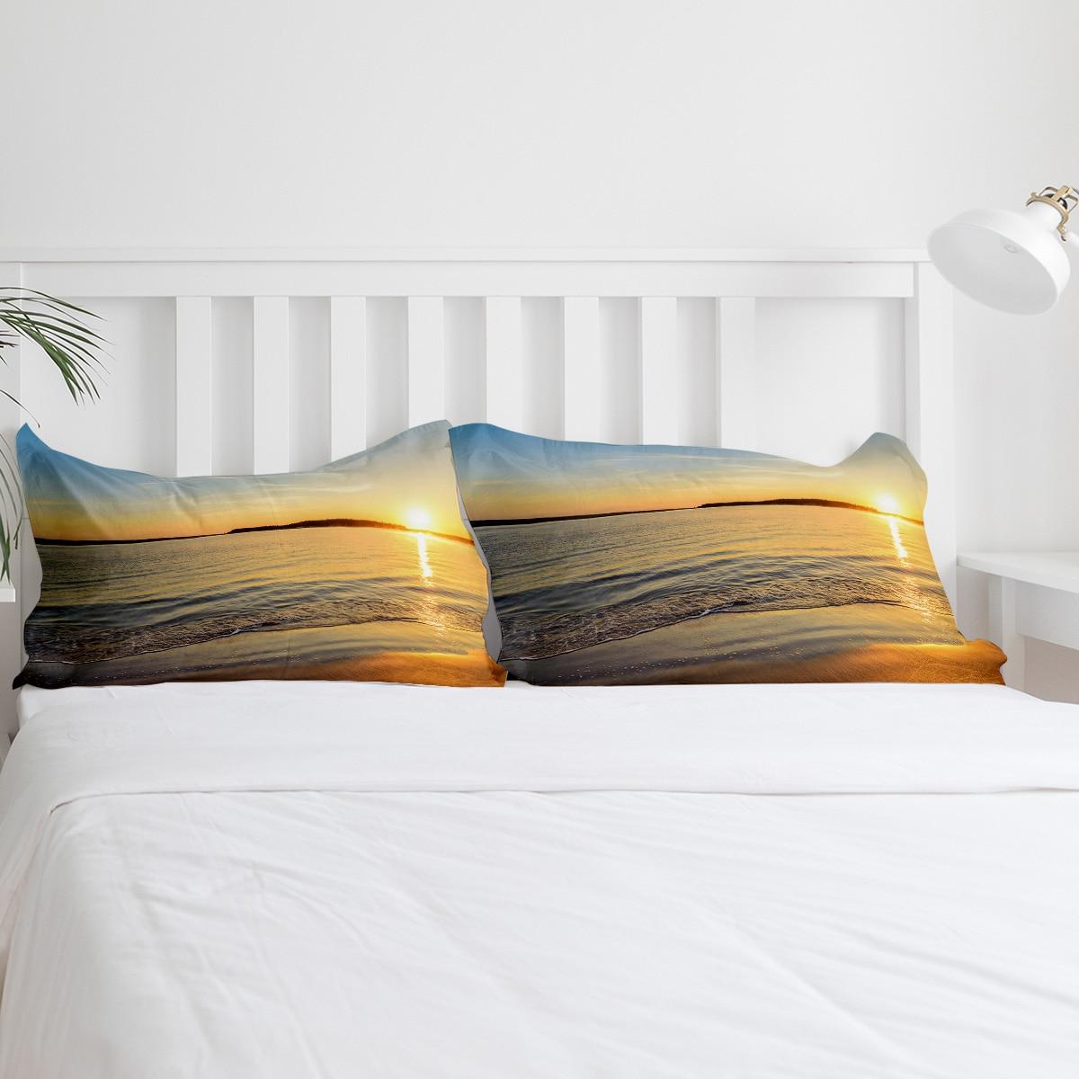BIGHOUSES Bettbezug set Sunset meer landschaft strand wasser horizon natur landschaft Duvet Abdeckung 4 Stück Bettwäsche Set - 5