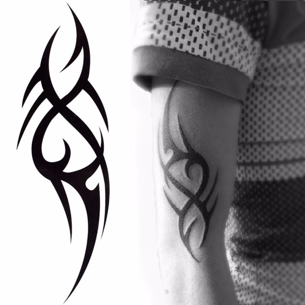 2020 Hot Black Temporary Tattoo Body Art Tattoos 3D Waterproof Temporary Tattoos Sticker Art Men Arm Leg Fake Tatoo Paper