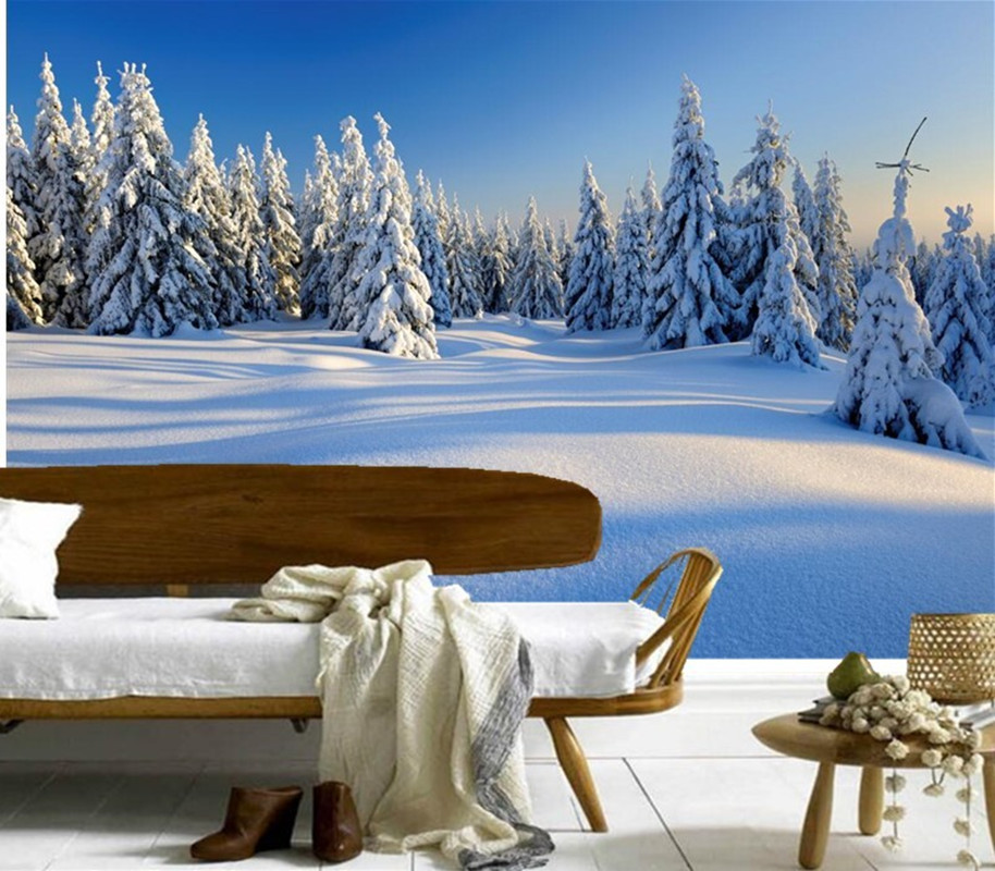 Custom 3D murals,Seasons Winter Fir Snow Nature papel de parede,hotel living room sofa TV wall bedroom stereoscopic wallpaper custom 3d murals cartoon wolf papel de parede hotel restaurant coffee shop living room sofa tv wall children bedroom wallpaper