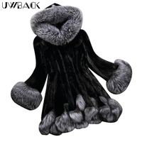 Uwback Women Faux Fur Coat Rhinestone Button 2018 New Winter Fashion Female Faux Mink Fur Overcoat