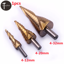 цена на 1PCS HSS 4-12/20/32mm Titanium Spiral Groove Step Drill Bit Metalworking Step Drill Hole Cutter Cone Drilling Saw Tools