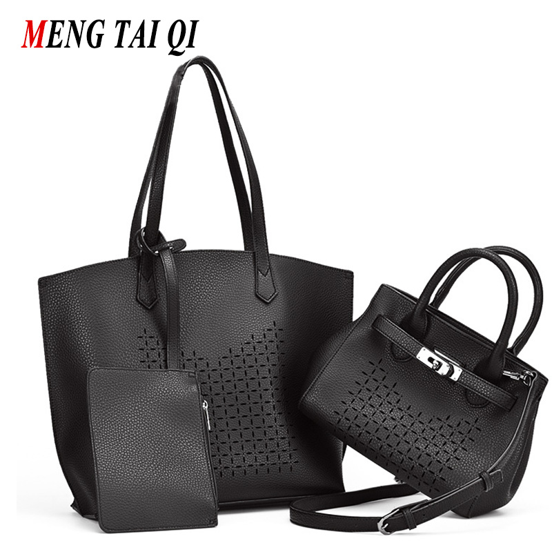Hollow Out Designer Purses And Handbags High Quality Women Bag 2017 Fashion Messenger Bag Shoulder Bag Pu Leather Ladies 3 Set 3