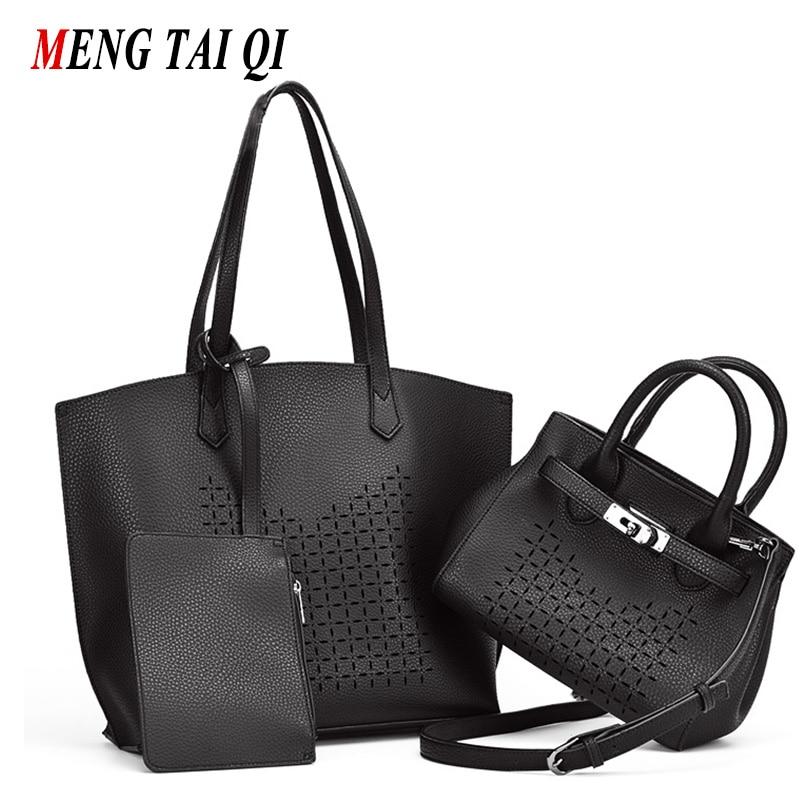 Hollow Out Designer Purses And Handbags High Quality Women Bag 2017 Fashion Messenger Bag Shoulder Bag Pu Leather Ladies 3 Set 3
