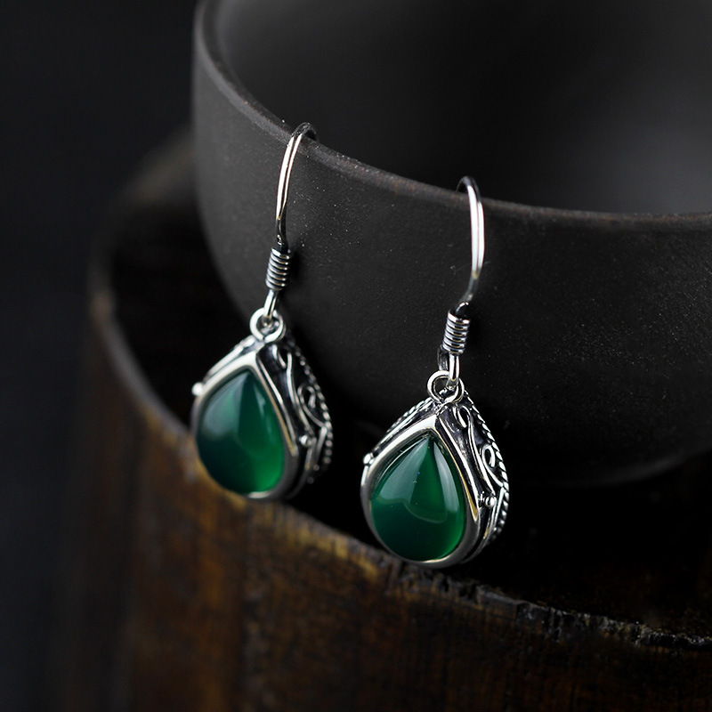 Real 925 Sterling Silver Drop Earrings Vintage Earrings For Women Natural Green Stone Jewelry Long Hanging Earrings Set Female vintage natural stone drop earrings
