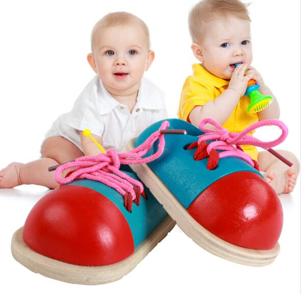 One Pair Of Kindergarten  Material Montessori Children Wooden Shoes Educational Toy Learn Lace Up Shoelace Montessori Materials
