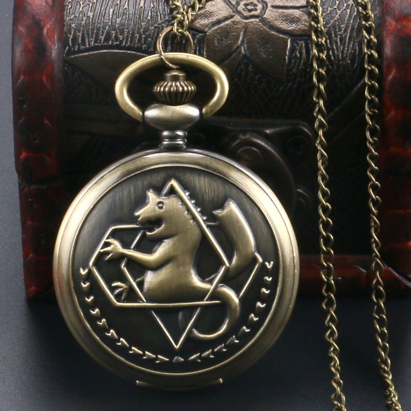 Retro Design Alchemist Alloy Pocket Watch With Necklace Chain For Men