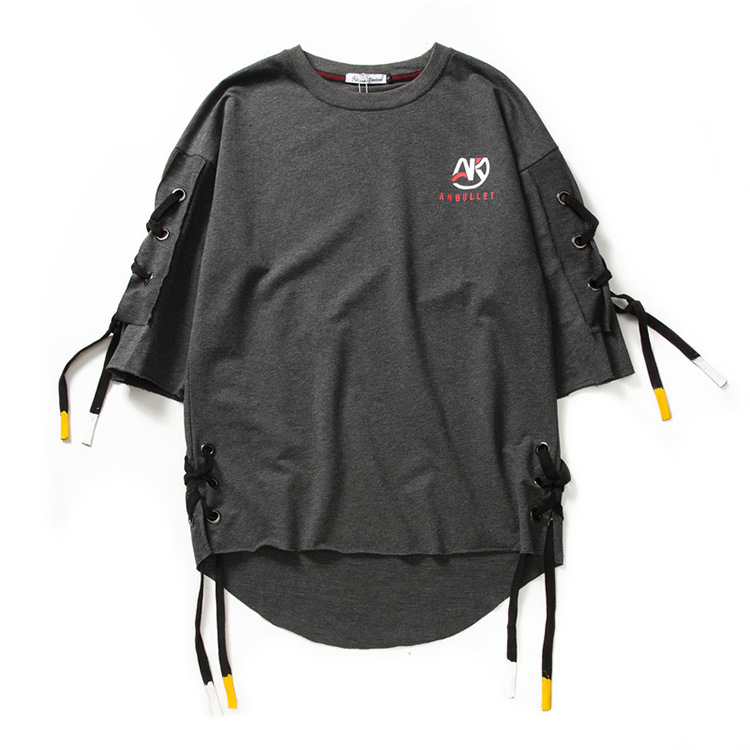 ABOORUN Men's Hip Hop T-shirt Rule Ribbons Decoration Printed Tees High Street Original Loose Short Sleeve Shirts for Male R149 27