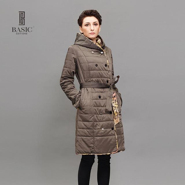 Basic Editions Длинные зимняя брендовая модная одежда с длинным рукавом с капюшоном хлопка-ватник Двусторонняя Куртка теплое пальто-Z15064