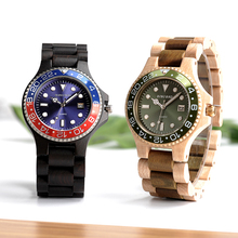 BOBO BIRD WO25 Sparkling Dial Face Men Dress Wooden Quartz Watch with Calendar Display Natural Wood Watches Relogio