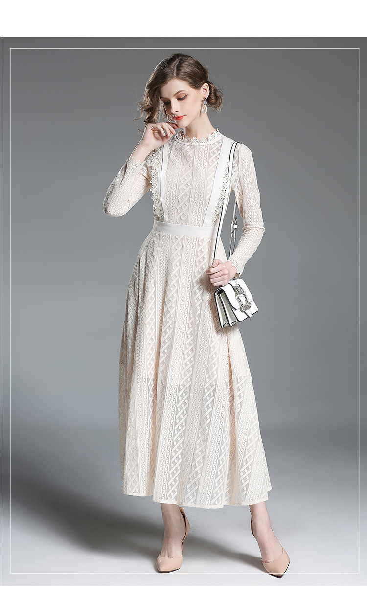 High end Long Sleeved Beige Maxi Lace Dress Womens Dresses New ...