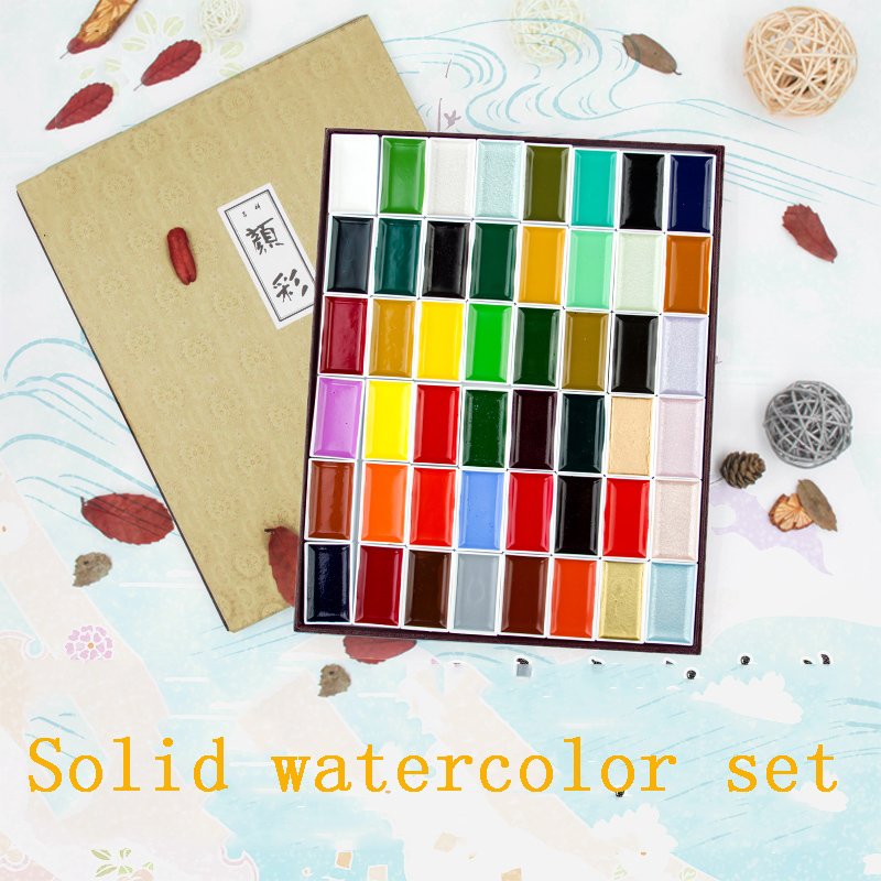 цена на 12/18/24Colors High Quality Solid Watercolor Paint Set Professional Painting Art Supplies