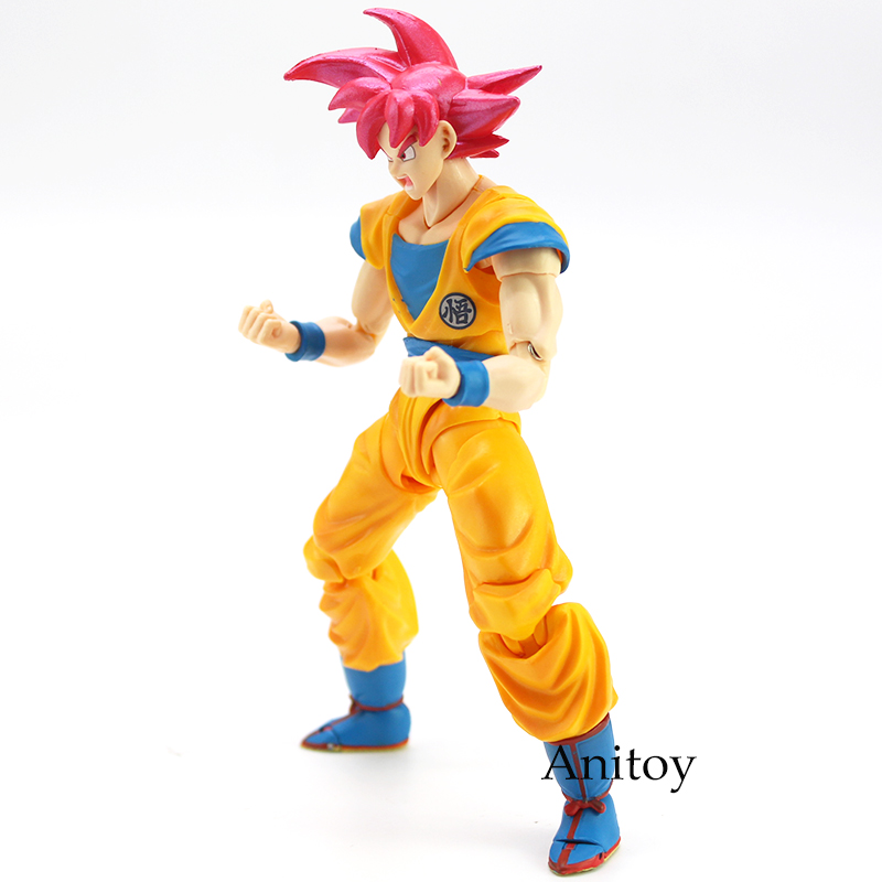 Image 4 - SHF Dragon Ball Super Saiyan God Son Goku Red Hair Gokou Dragon Ball PVC Action Figure Collectible Model Toy 15cm-in Action & Toy Figures from Toys & Hobbies