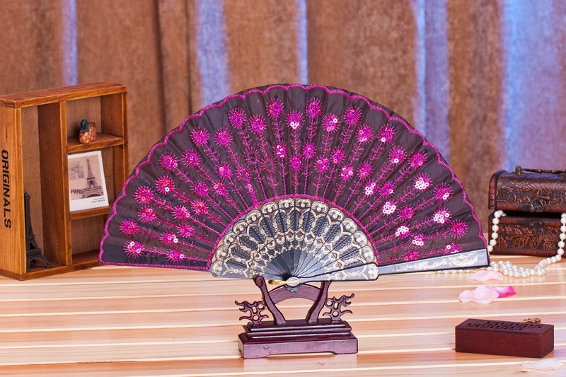 (50 개/몫) 새로운 유행 장식 조각 공작 팬 수제 댄스 핸드 팬 댄스 용품 많은 색상을 사용할 수-에서파티 취향부터 홈 & 가든 의  그룹 2