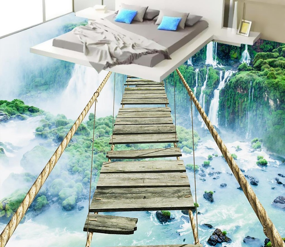US $23 5 OFF 3d Lantai Lukisan Wallpaper 3D Landscape Waterfall Petualangan Tali Kayu Lantai 3d Pvc Wallpaper 3d Lantai Floor 3d 3d