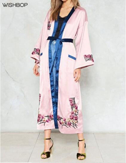 2018ss Woman Fashion Pink pajamas Style Long Cardigan Shirt With Flowers  Embroidery Navy Piping Kimono With Belt-in Blouses   Shirts from Women s  Clothing ... 7dbe81375d52