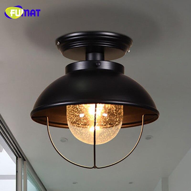 FUMAT стеклянный потолочный светильник, скандинавский балкон, потолочный светильник для крыльца, прохода, гардеробный светильник, черный, для...