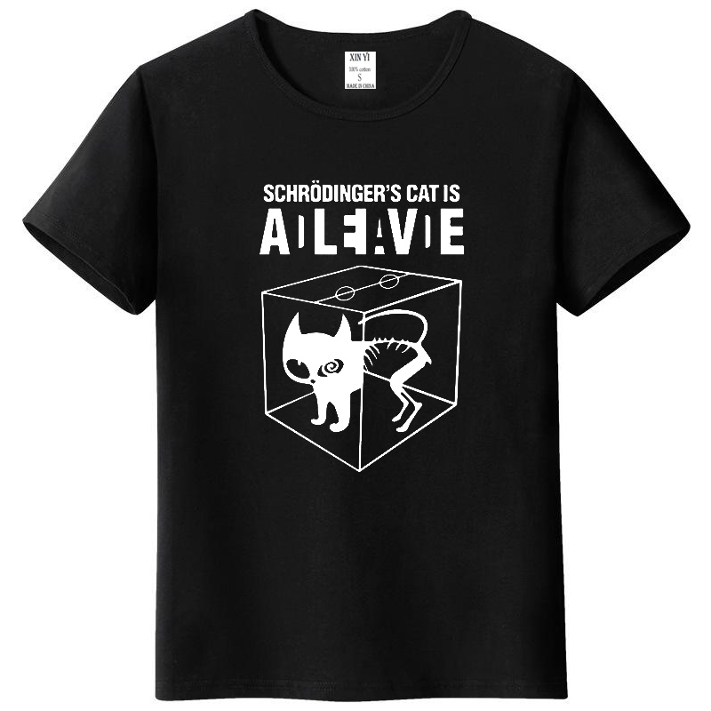 Top Quality cotton Schrodinger's Cat print short sleeve men   T     shirt   casual The Big Bang Theory mens Tshirt 2018 T01