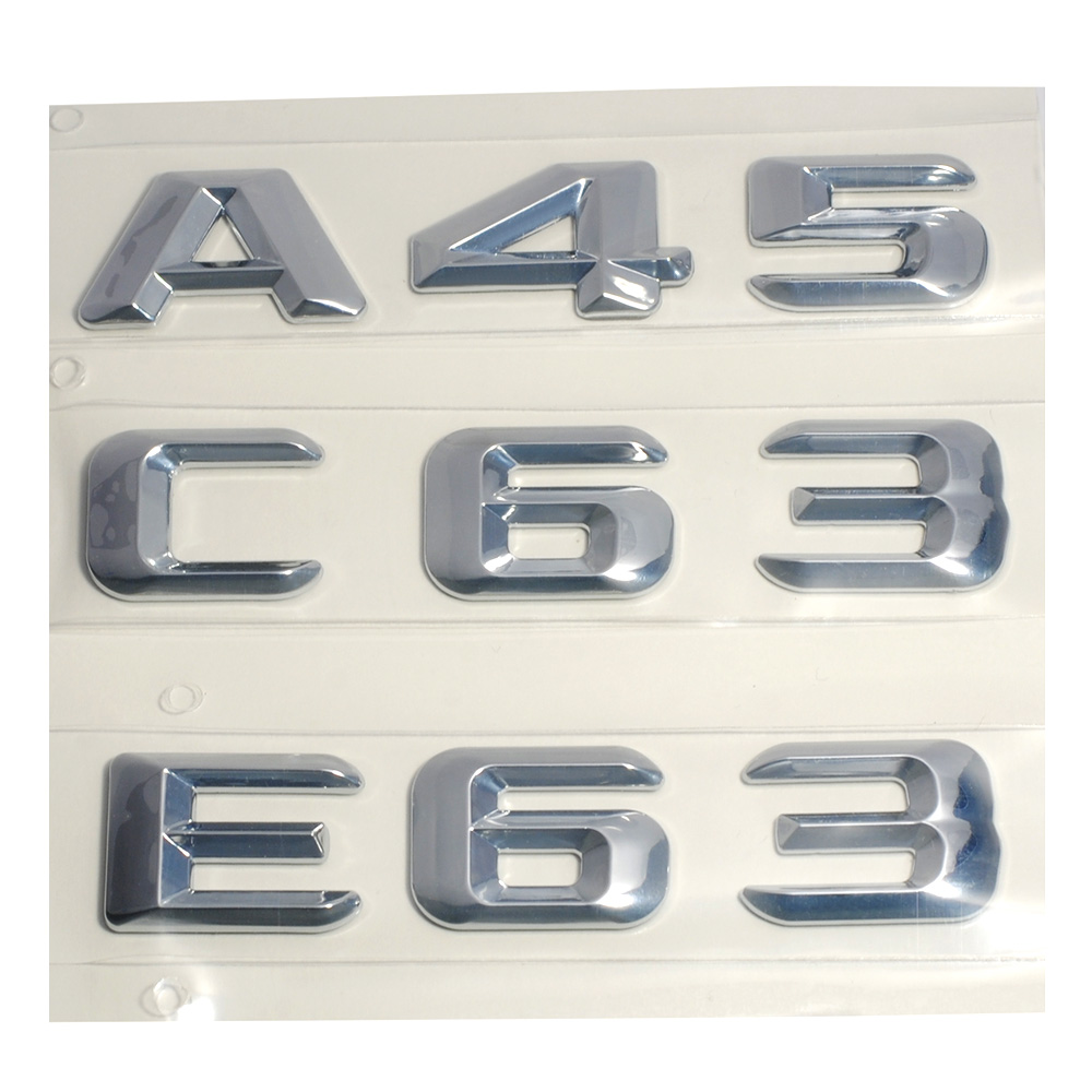 3D ABS Plastic A 45 A45 C 63 C63 E 63 E63 Trunk Rear Logo Badge Emblem Sticker for Mercedes Benz W176 AMG A Class A45 C63 E63 silvery amg logo front grill grille emblems abs chrome material amg badge for mercedes benz cars