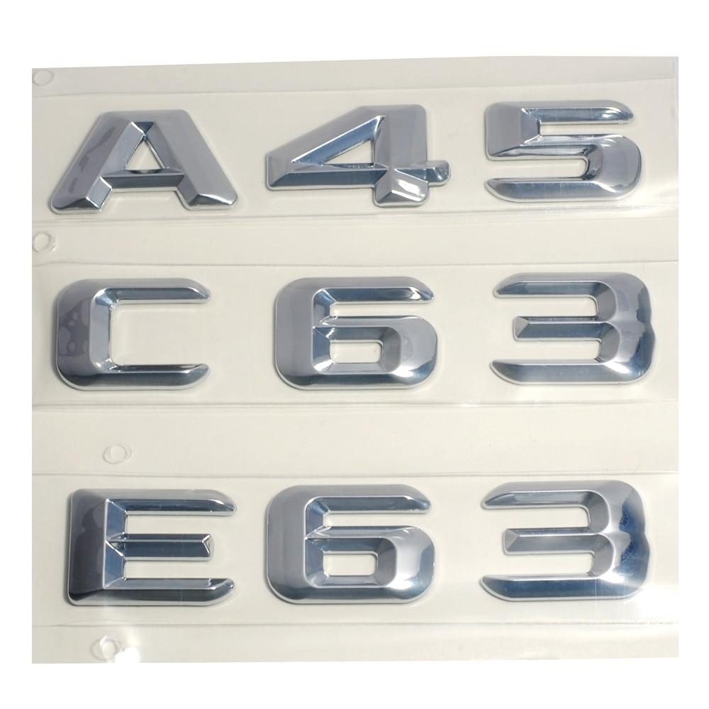 3D ABS Plastic A 45 A45 C 63 C63 E 63 E63 Trunk Rear Logo Badge Emblem Sticker for Mercedes Benz W176 AMG A Class A45 C63 E63