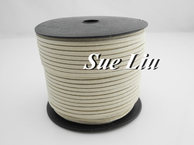 100yds/pcs 2.6mmx1.5mm Off White Flat Faux Suede Velvet Leather Cord for friendship bracelet NCSS-45