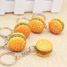 Original Creative Cute Hamburger Keychain Simulation Food Hamburger Pendant Key Ring Novelty Key Chain Christmas Birthday Gift cute hamburger land line telephone