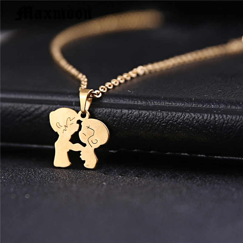 Maxmoon Stainless Steel Cute Boy Girl Pendant Necklace Lovers Necklace Couple Jewelry For Birthday Gift