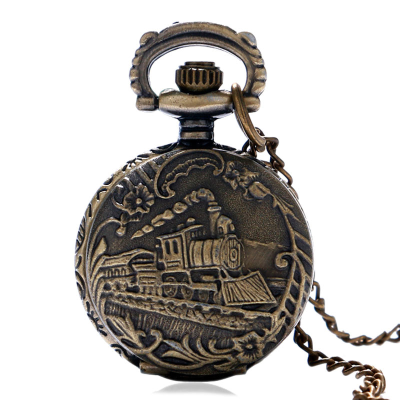 Antique Small Pocket Watch Delicate Train Steam Locomotive 3D Carving Slim Necklace Mini Clock Special Gifts for Children Boys (1)