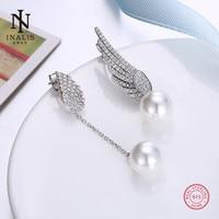 INALIS 925 Sterling Silver Stud Earrings Fashion Party Pearl Stud Earrings For Women Girl Female Jewelry