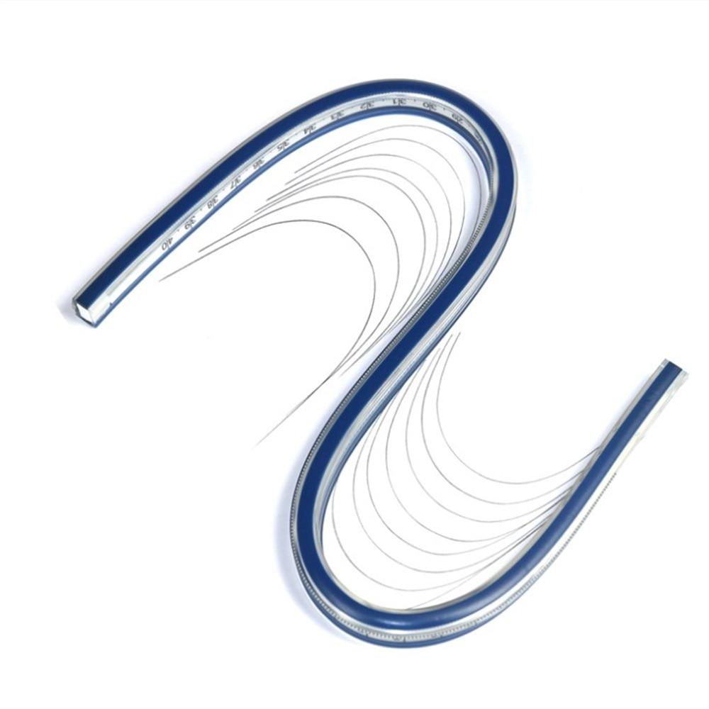 Woodworking Tailors Soft  Serpentine Plastic Soft Plastic Flexible Curve Ruler Blue White Drawing Design Soft Ruler