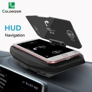 Image 1 - אוניברסלי טלפון רכב מראה מחזיק שמשות מקרן HUD ראש Up תצוגת GPS ניווט HUD מתקפל סוגר עבור iPhone סמסונג