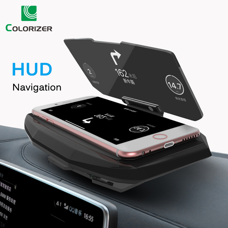 Universal Phone Car Mirror Holder Windscreen Projector HUD Head Up Display GPS Navigation HUD Folding Bracket For iPhone Samsung-in Phone Holders & Stands from Cellphones & Telecommunications