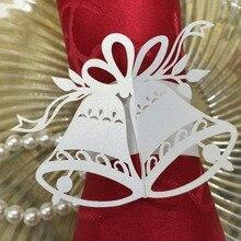 20pcs Elegant White Christmas Little Bells Napkin Ring Iridescent Paper Holder Wedding Party Banquet Christmas Decoration Favor